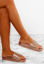 Sunkissed Rose Gold Diamante Sliders