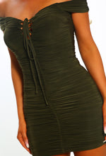Sunkissed Senorita Khaki Ruched Bardot Mini Dress