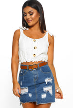 Sunny In Seattle White Broderie Button Detail Crop Top