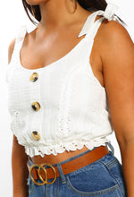 White Broderie Button Detail Crop Top - Close Up