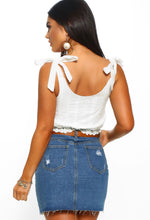 White Broderie Button Detail Crop Top - Back view
