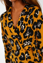 Mustard Leopard Print Wrap Blouse - Close up view