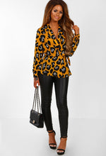 Mustard Leopard Print Wrap Blouse - Front view