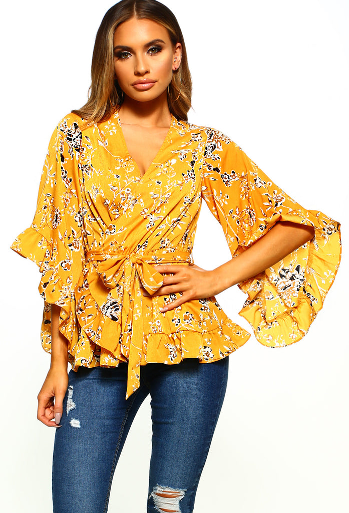 Sunshine Yellow Floral Frill Detail Wrap Top by Pink Boutique