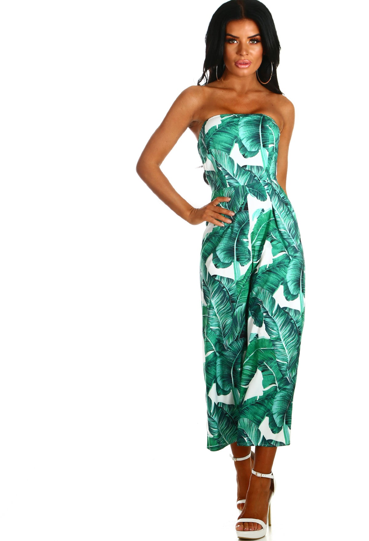 9e5011ae64 Super Shock White and Green Leaf Print Strapless Culotte Jumpsuit ...