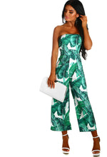 Super Shock White and Green Leaf Print Strapless Culotte Jumpsuit