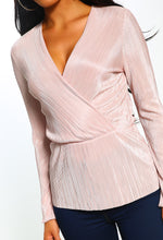 Pink Long Sleeve Plisse Wrap Top - Close up view