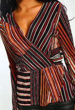 Stripe Print Long Sleeve Plisse Wrap Top - Close up view