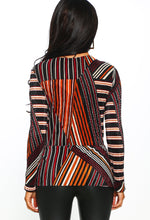 Stripe Print Long Sleeve Plisse Wrap Top - Back view