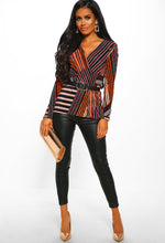 Stripe Print Long Sleeve Plisse Wrap Top - Front view