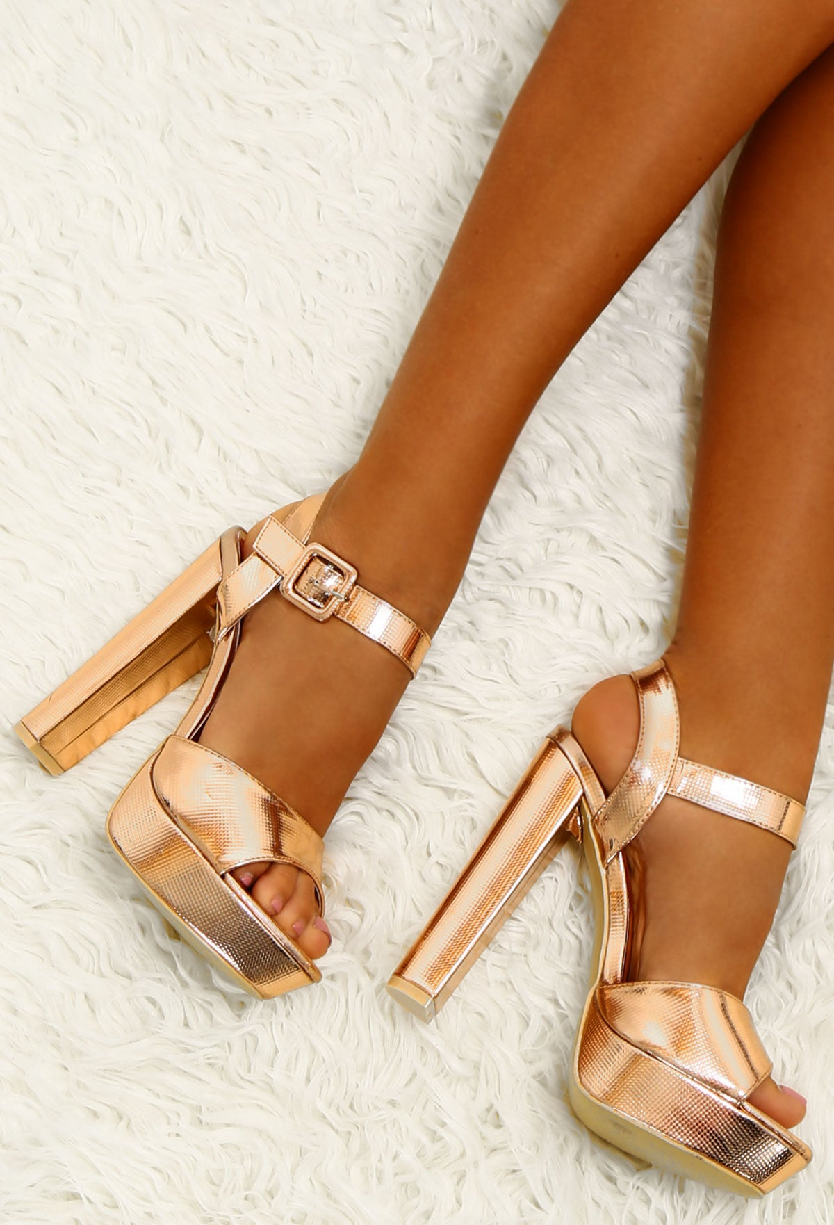 4ca97d52259a Take Me Higher Rose Gold Chunky Platform Heels – Pink Boutique UK