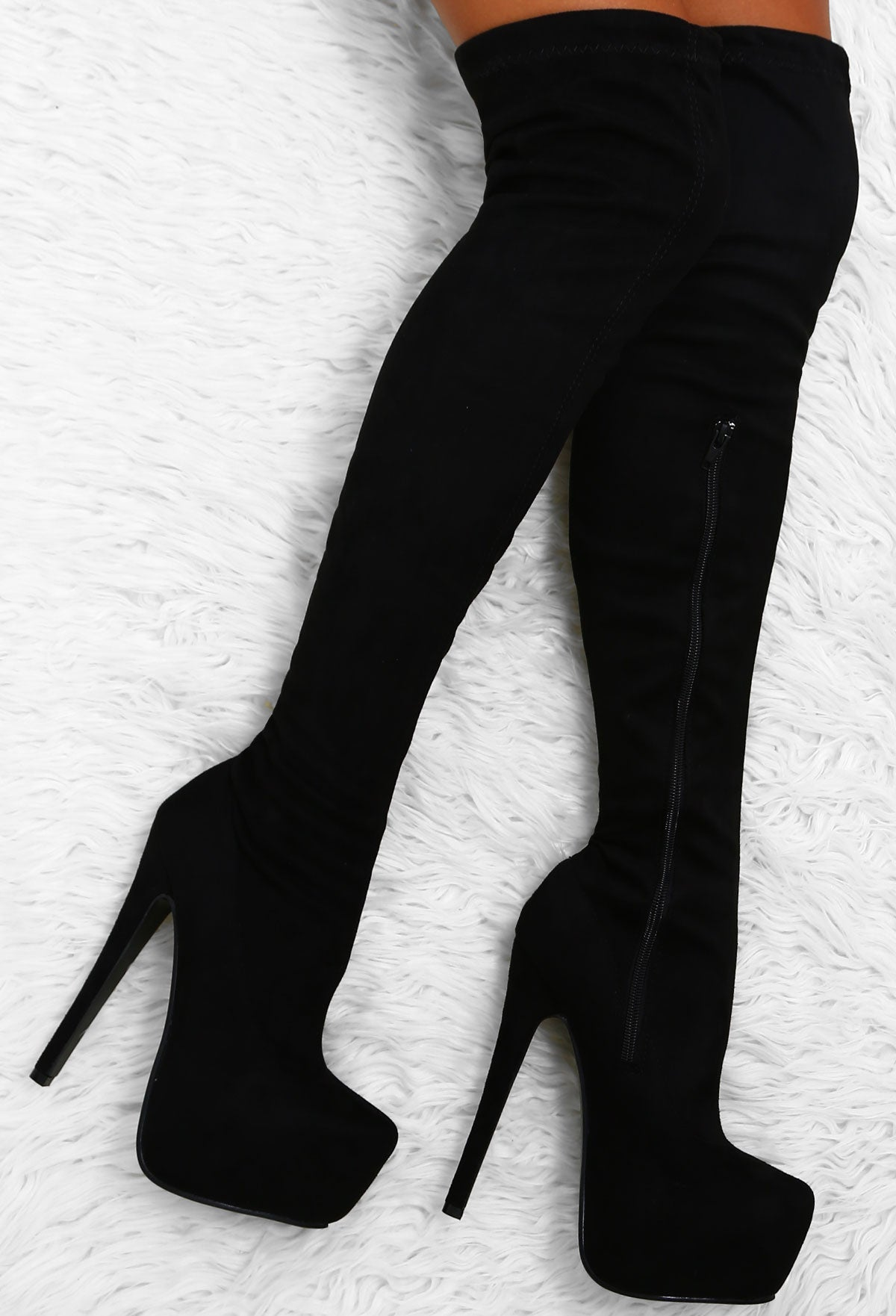 516b11e5d7a Take The Risk Black Faux Suede Over The Knee Platform Boots – Pink ...