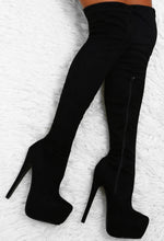 Take The Risk Black Faux Suede Over The Knee Platform Boots