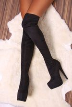 Tallahassee Black Suede Thigh High Platform Boots
