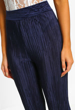 Talk All Night Navy High Waisted Plisse Trousers