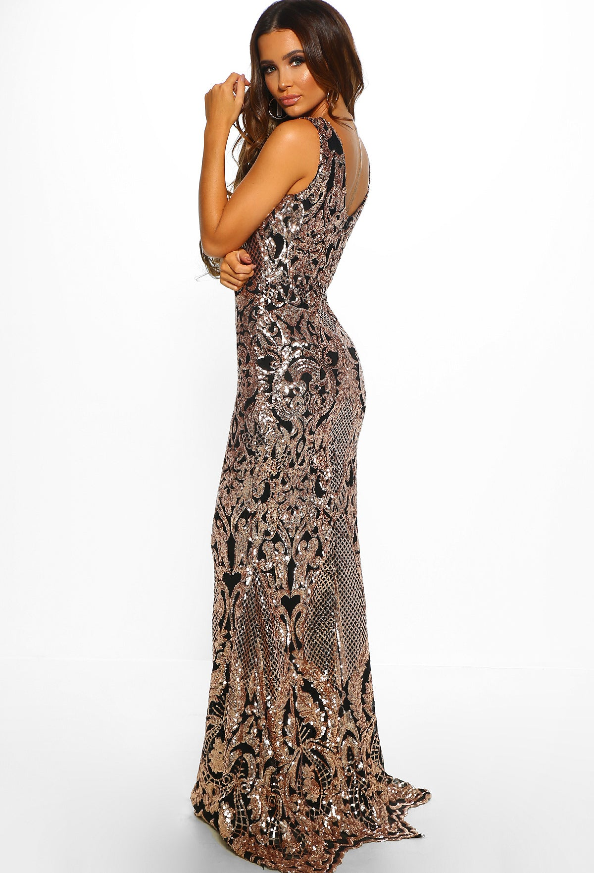 84e150a5 Gilded Glory Gold And Black Sequin Maxi Dress - raveitsafe