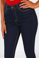Navy Super Stretch High Waist Skinny Jeans - Close Up View
