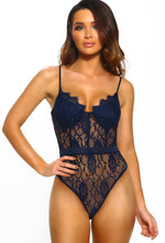 Navy Lace Panelled Bodysuit