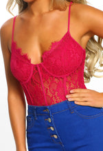 Tease Hot Pink Lace Panelled Bodysuit