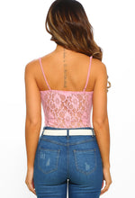 Pink Lace Panelled Bodysuit - Back View