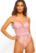 Pink Lace Panelled Bodysuit
