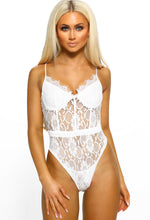 Tease White Lace Panelled Bodysuit