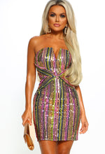Tell Me Something Multi Sequin Stripe Mini Dress