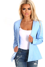That's Our Pearl Blue Collarless Pearl Blazer