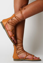 Thaylia Tan Lace Up Gladiator Sandals