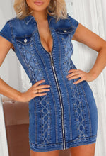 Denim Dress With Lace Up Detail