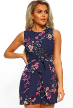 These Daze Navy Floral Print Tie Front Playsuit