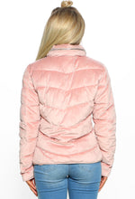 Think Pink Velvet Quilted Hooded Puffer Coat