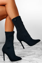 This Is Everything Black Lace Up Calf Length Stiletto Boots