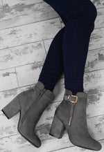 Throwing Suede Grey Faux Suede Buckle Block Heel Ankle Boots