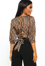 Tied Down Brown Tiger Print Wrap Front Crop Top