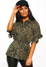 Khaki Animal Print Frill Sleeve Shirt - Front view