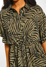 Khaki Animal Print Frill Sleeve Shirt - Close up view