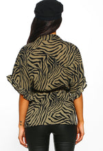 Khaki Animal Print Frill Sleeve Shirt - Back view