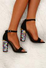 Till The Glitter End Black Sequin Block Heels