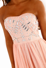 Time To Shine Pink Embellished Tulle Strapless Maxi Dress
