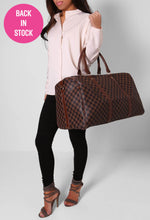 Tiote Brown Check Holdall Bag