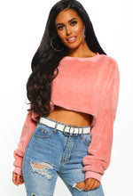 Pink Teddy Bear Oversized Cropped Jumper