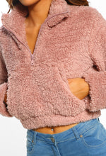 Tongue N Chic Pink Teddy Fleece Cropped Jumper