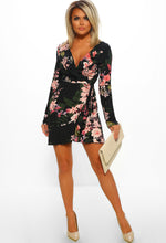 Too Glam Black Multi Floral Print Frill Wrap Mini Dress