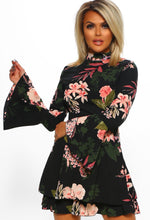 Black Bell Sleeve Multi Floral Print Frill Mini Dress