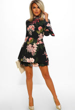Black Floral Print Frill Dress