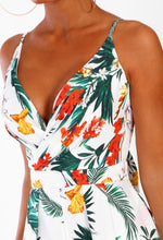 Totally Tropic White Tropical Print Wrap Playsuit