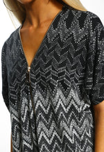 Multi Print Zip Front Top - Close up view