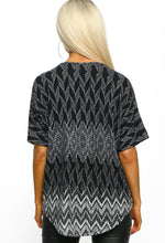 Multi Print Zip Front Top - Back view