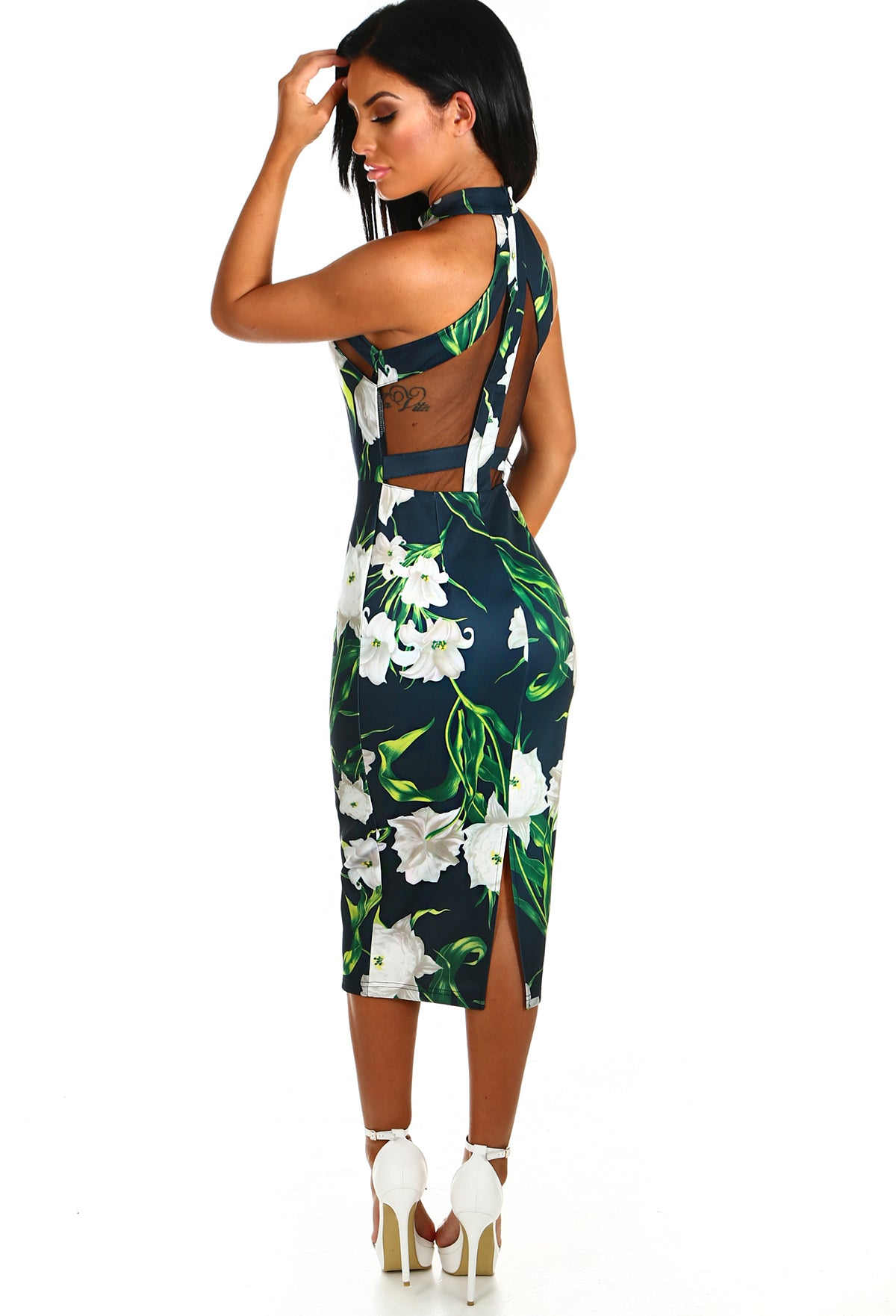 c046bc09f83 Tropical Paradise Black Multi Floral Mesh Midi Dress – Pink Boutique UK